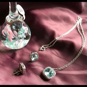 Jewelry - Crystal Aquamarine & Marcasite Jewelry Set, Size 7